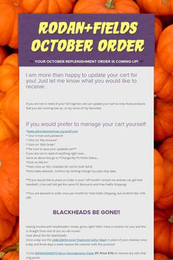 Rodan+Fields October Order