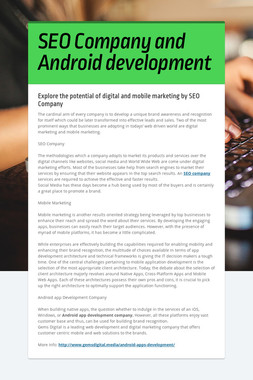 SEO Company and Android development