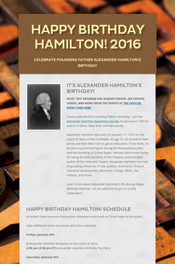 Happy Birthday Hamilton! 2016