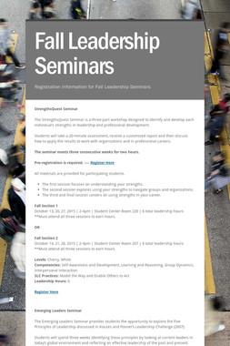 Fall Leadership Seminars