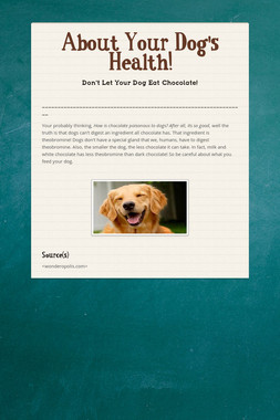 About Your Dog's Health!