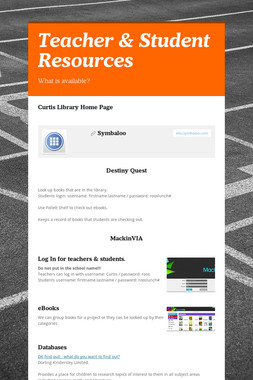 Teacher & Student Resources
