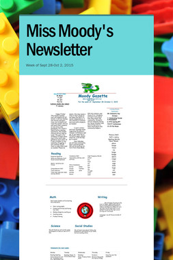 Miss Moody's Newsletter