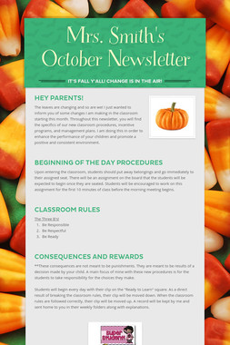 Mrs. Smith's October Newsletter