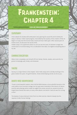 Frankenstein: Chapter 4