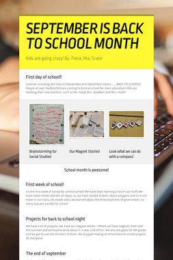 SEPTEMBER IS BACK TO SCHOOL MONTH