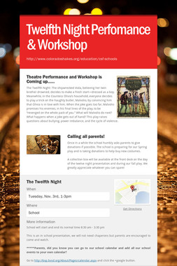 Twelfth Night Perfomance & Workshop