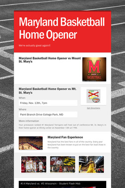Maryland Basketball Home Opener