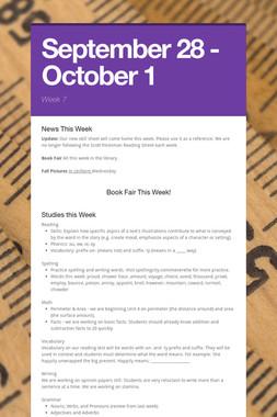 September 28 - October 1