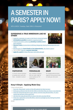 A SEMESTER IN PARIS? APPLY NOW!