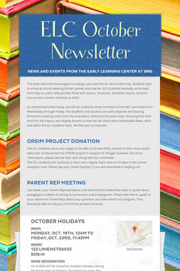 ELC October Newsletter