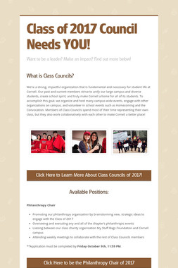 Class of 2017 Council Needs YOU!