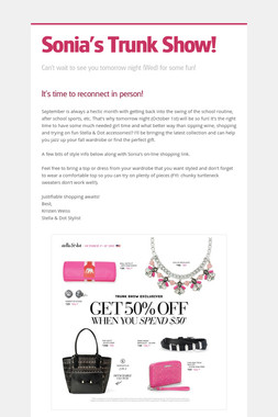 Sonia's Trunk Show!