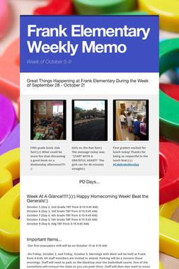 Frank Elementary Weekly Memo