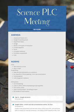Science PLC Meeting