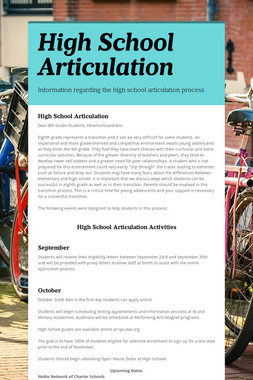 High School Articulation