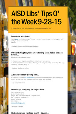 AISD Libs' Tips O' the Week 9-28-15