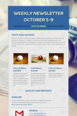 Weekly Newsletter October 5-9
