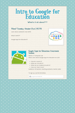 Intro to Google for Education