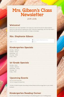 Mrs. Gibson's Class Newsletter