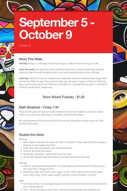 September 5 - October 9