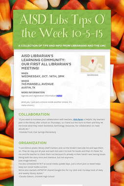 AISD Libs Tips O' the Week 10-5-15