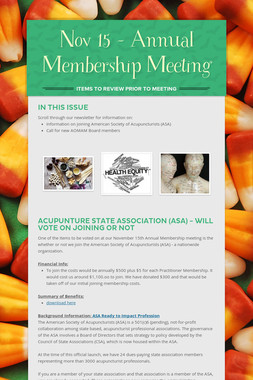 Nov 15 - Annual Membership Meeting