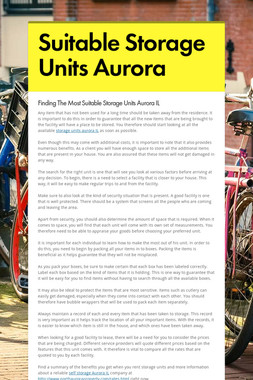 Suitable Storage Units Aurora