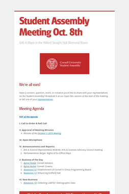 Student Assembly Meeting Oct. 8th