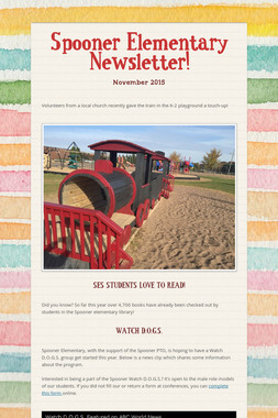 Spooner Elementary Newsletter!