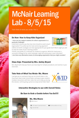 McNair Learning Lab - 8/5/15