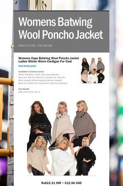 Womens Batwing Wool Poncho Jacket