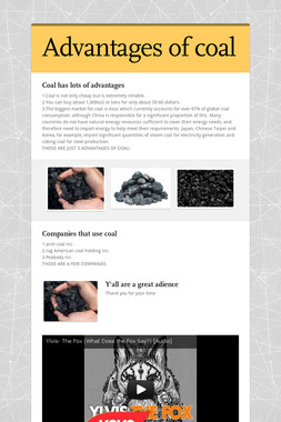 Advantages of coal