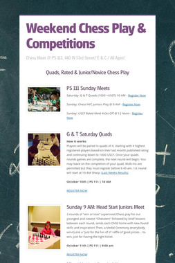 Weekend Chess Play  & Competitions