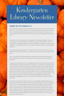 Kindergarten Library Newsletter
