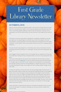 First Grade Library Newsletter