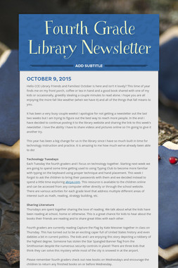 Fourth Grade Library Newsletter