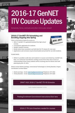 2016-17 GenNET ITV Course Updates