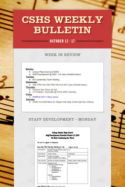 CSHS Weekly Bulletin