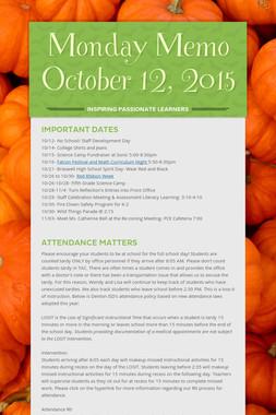 Monday Memo October 12, 2015
