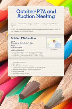 October PTA and Auction Meeting