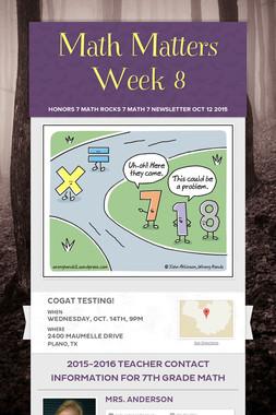 Math Matters Week 8