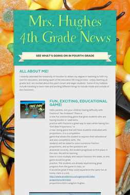 Mrs. Hughes 4th Grade News