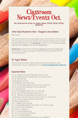 Classroom News/Events Oct.