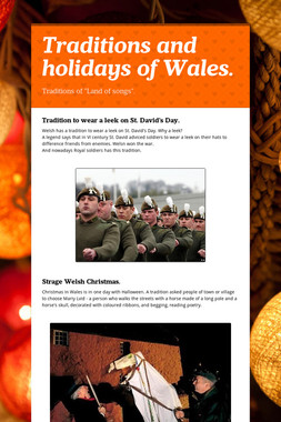 Traditions and holidays of Wales.