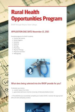 Rural Health Opportunities Program