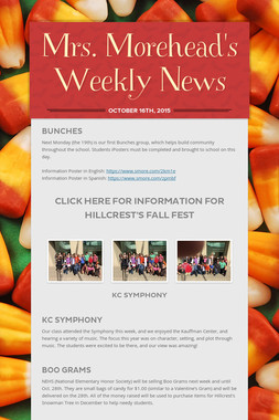 Mrs. Morehead's Weekly News