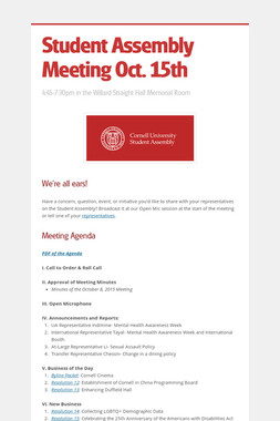Student Assembly Meeting Oct. 15th