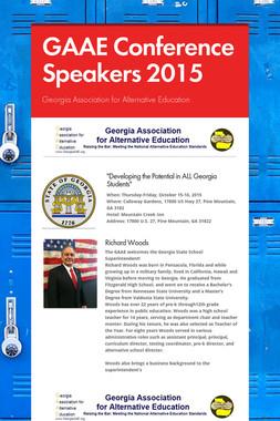 GAAE Conference Speakers 2015