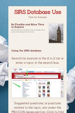 SIRS Database Use